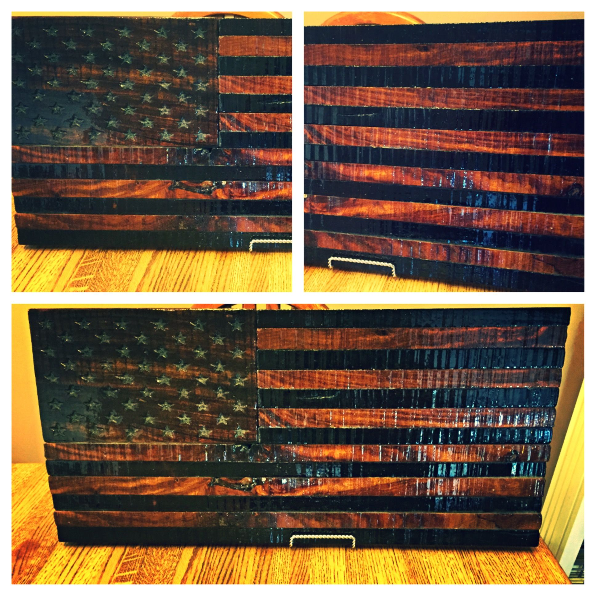 Custom Rustic Wooden American Flag By Torched Metal Works