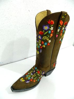 ... Custom Made Colorful Floral Embroidery Brown Distressed Leather Cowgirl  Boots Made To Order ...
