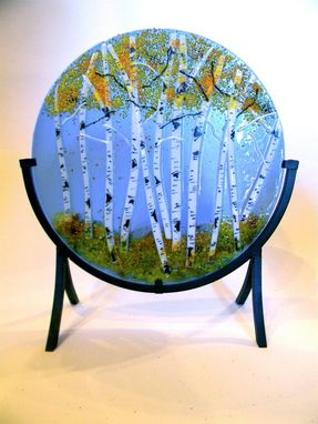 Custom Made Aspen Fused Glass Round Panel 12