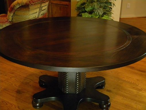 "Custom Made 62"" Diameter Espresso Stained Hickory Pecan Dining Table"