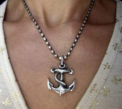 Custom Made Anchor Pendant In Sterling Silver