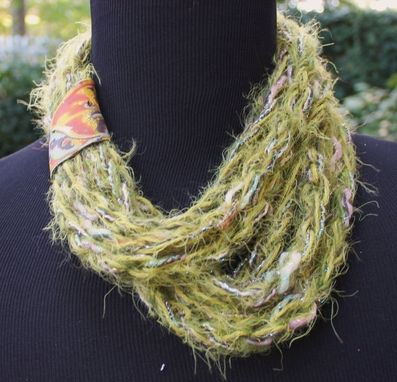 Custom Made Moss - Womens Scarf, Soft And Fuzzy Multi Wrap Twisted Scarf With Marbled Clay Clasp