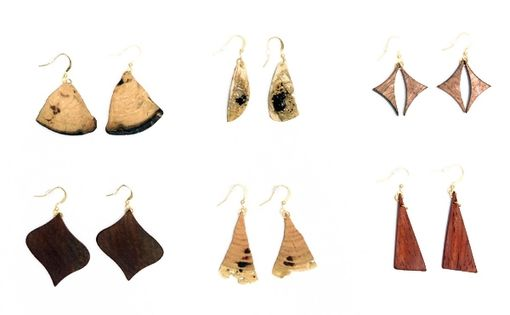Custom Made One-Of-A-Kind Wooden Earrings In A Variety Styles, Colours And Sizes