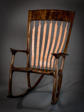 Custom Made Walnut & Quilted Maple Handshake Rocking Chair