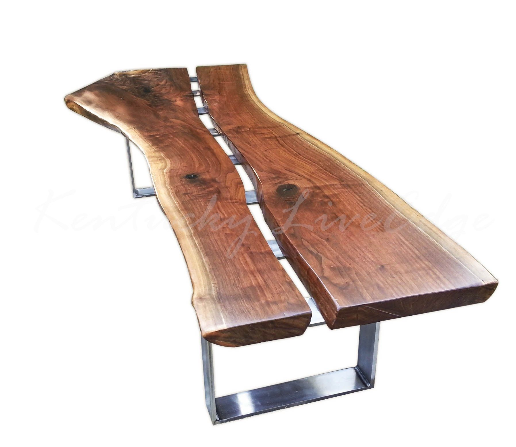 Industrial Unique Metal Designer Coffee Table: Custom Modern Live Edge Walnut And Steel Coffee Table