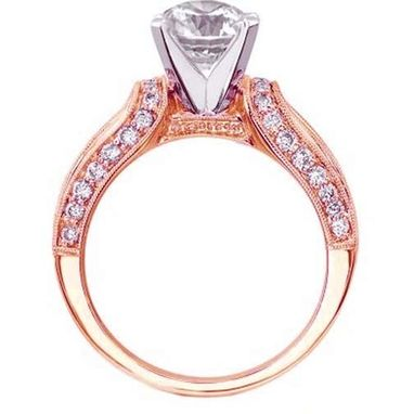 Custom Made Princess Diamond Vintage Horseshoe Engagement Ring Baguette Diamonds Millgrained Band , 0.85 Tcw. In 14k Yellow Gold Es648