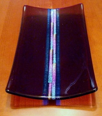 Custom Made Dichroic Center Fused Glass Platter