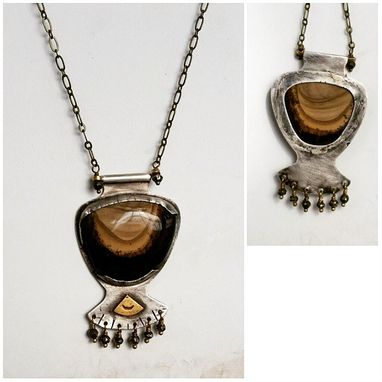 Custom Made Sahara Jasper Silver And Brass Necklace