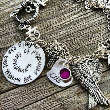 Custom Made Personalized Sterling Silver Hand Stamped Charm Bracelet Memorial
