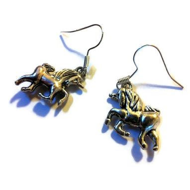 Custom Made Silver Unicorn Earrings