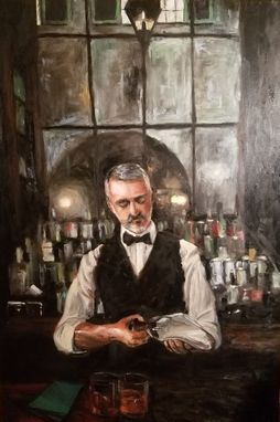 "Custom Made Bartender Oil Painting ""End Of The Night"