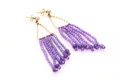 Custom Made Triangle Amethyst Tassel Earrings