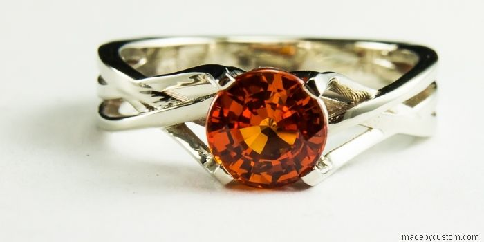 Hand Crafted Orange Sapphire Engagement Ring By Custom