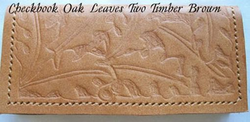Custom Made Custom Leather Checkbook Cover With Oak Leaves Design In Timber Brown