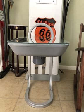 Custom Made Industrial Design Lighted End Table