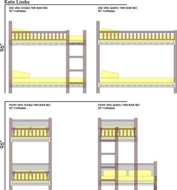 Custom Made Twin And Queen Size Bunk Beds