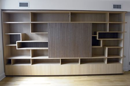 Custom Made Oak And Walnut Multi-Purpose Cabinet