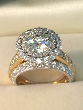 Custom Made Moissanite And Diamond Ring