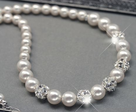 Custom Made Pearl And Rhinestone Bridal Necklace