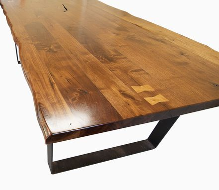 Custom Made Live Edge Walnut Dining Table With Flat Iron Legs, Walnut Natural Edge Look
