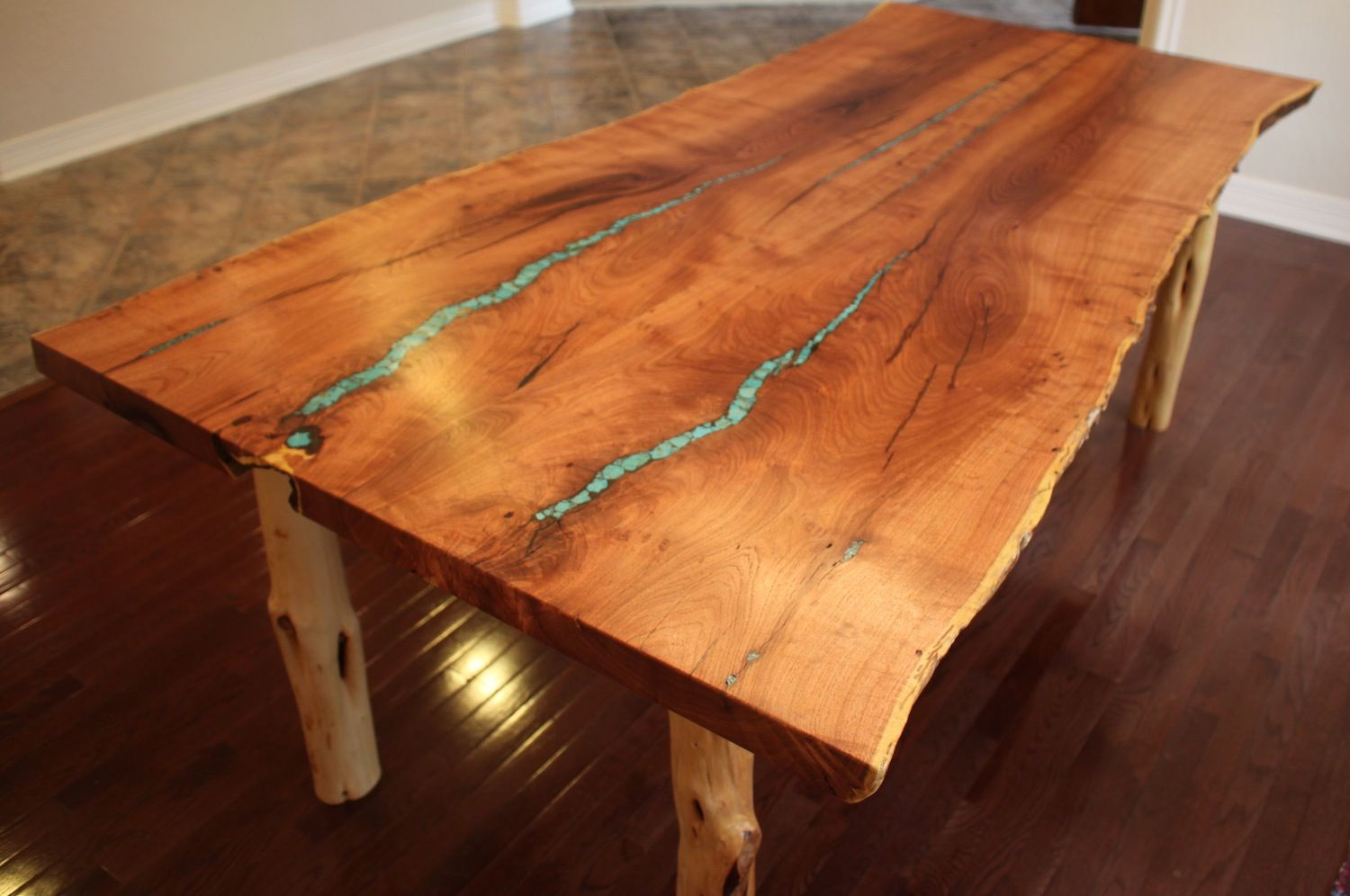 Custom Made Turquoise Inlay Mesquite Dining Table By Aaron Smith Woodworker Custommade