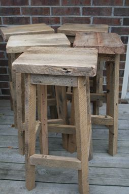Custom Made Reclaimed Barn Wood Rectangle Stools With Free Shipping
