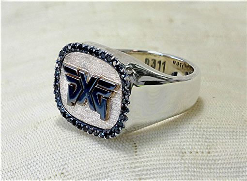 Custom Made Pxg Logo Black Diamond Silver Ring
