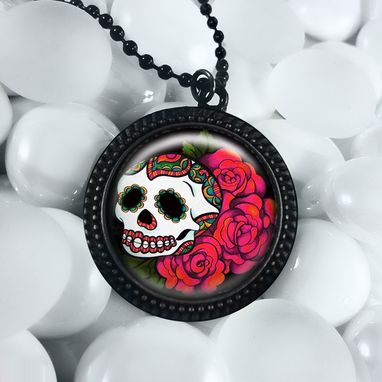 Custom Made Day Of The Dead Skull & Roses Black Pendant Necklace 77-Jbrn