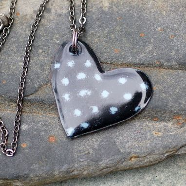 Custom Made Enamel Heart Pendant Necklace Copper Enameled Jewelry Black Gray Spotted