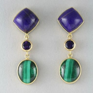 Custom Made Malachite & Sugilite Earrings - Hand Wrought 18k Gold & Fine Silver