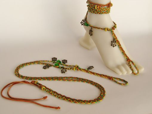 Custom Made Barefoot Sandals.Tan Deerskin, Turtle Charms, Gold And Green Hemp Cords. Gypsy. Boho. Foot Jewelry.