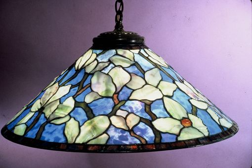 "Custom Made 28"" Chinese Magnolia Hanging Lamp, Five Light"