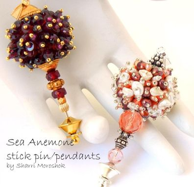 Custom Made Sea Anemone Gemstone And Pearl Beaded Bead Jewelry