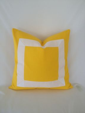 Custom Made Yellow Cotton With White Ribbon Pillow Cover