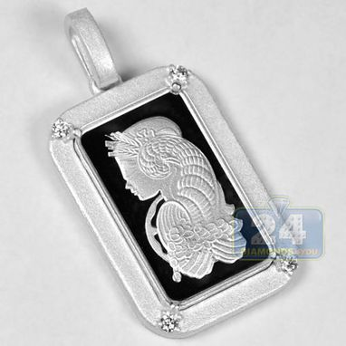 Custom Made Pamp Suisse 5 Gram Fine Silver Fortuna Bar Diamond Frame Mens Pendant