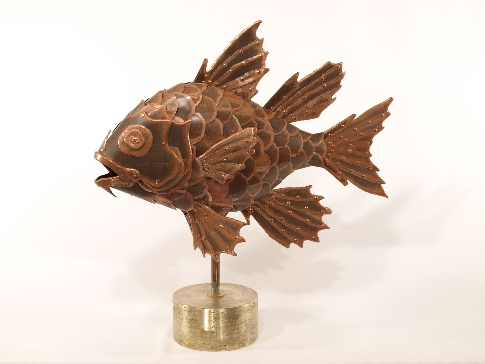 Hand Made Copper Fish Sculpture Pajama Cardinalfish By