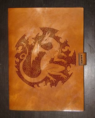 Custom Made Heavy Leather Ipad Mini Case - Circled Dragon - Design By Brian Scott, Bsd Studios