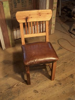 Custom Made Reclaimed Oak Mission Style Dining Chairs With Upholstered Leather Seats