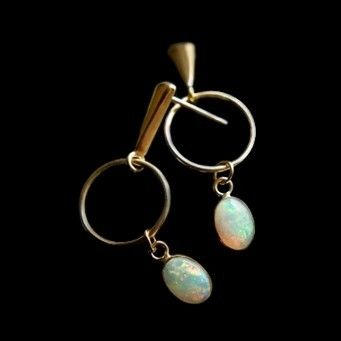Custom Made Opal 14 Karat Dangles