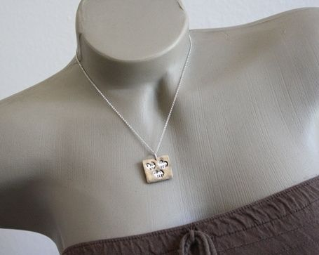 Custom Made Sterling Silver & Bronze - Three Heart Secret Necklace