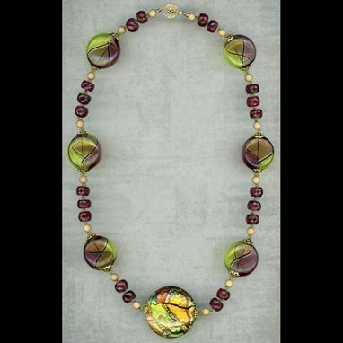 Custom Made Summer Heat Ruby Peridot & Glass Necklace