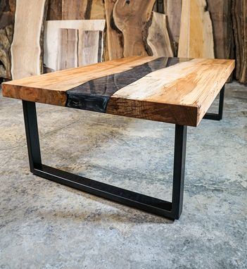 Custom Made Epoxy River Table - Maple - Coffee Table - Dark Silver
