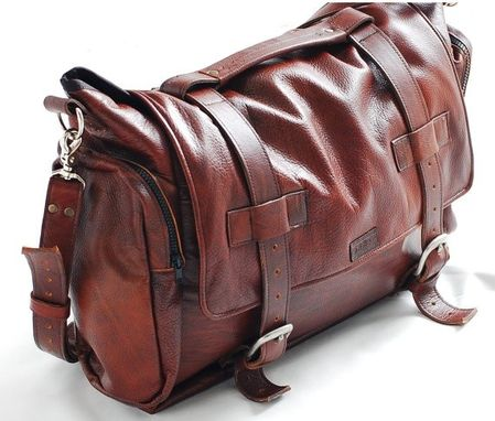 Custom Made Handmade Leather Messenger Bag Handmade 22 Inch Leather Cross Body, Leather Laptop Bag Or Mac Book Bag , Shoulder Bag In Tobacco
