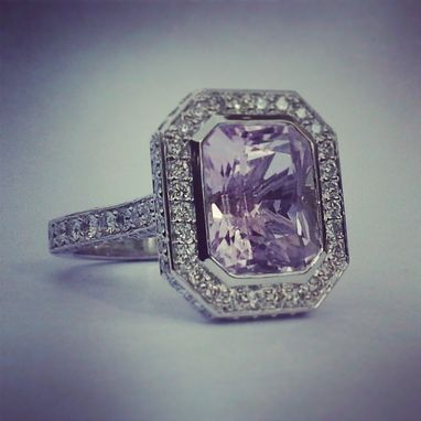 Custom Made Kunzite And Diamond Ring