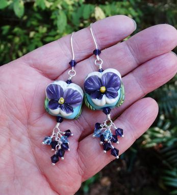 Custom Made Lampwork Pansy Earrings With Swarovski Crystals In Sterling Silver