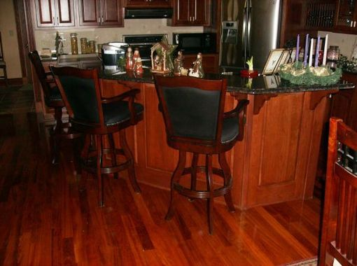 Custom Made Custom Cherry Kitchen With Granite Top And Eating Bar.