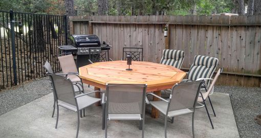 Custom Made Outdoor Redwood 10 Sided Polygon Table.