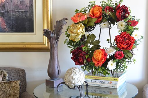 Custom Made Front Door Wreaths, Roses Wreath, Peony Wreath, Home Decor, Silk Flower Arrangement