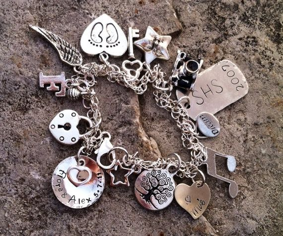 Custom Made Charm Bracelet Sterling Silver Personalized Baby Feet Hand Stamped Footprints