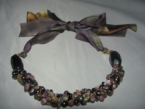 Custom Made Tourmaline Chunk Cluster Bead Necklace W/Parachute Ribbon